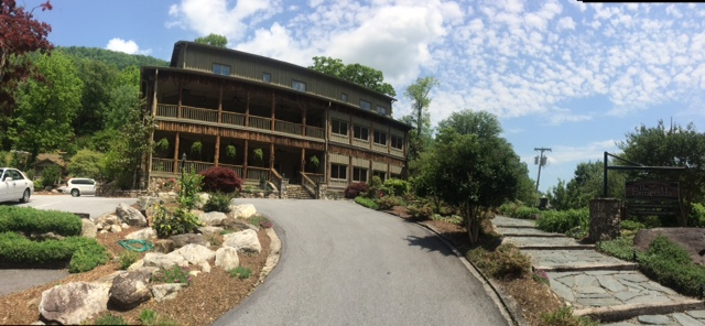Stay in Chimney Rock or nearby Lake Lure. This is the Esmerelda Inn in Chimney Rock.